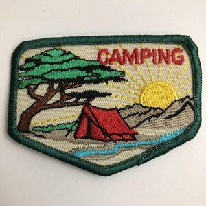 Girl Scout Patch Camping 1990s Green Brown Red
